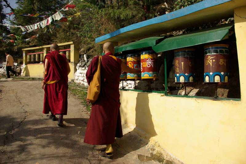 Monks and prayer wheels in Dharamsala.