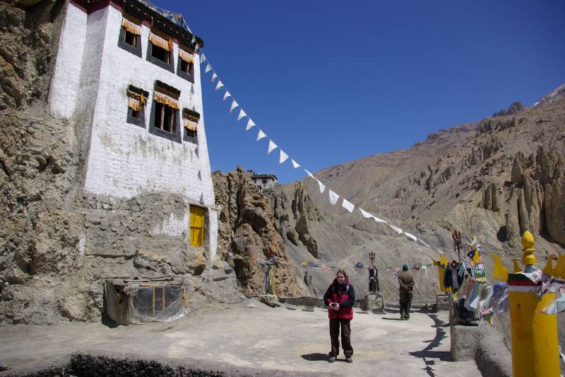 Edel at the top of Dhankar monastery.