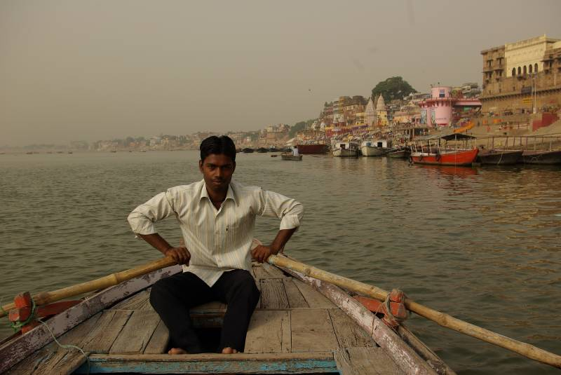 Boating on the Ganges.