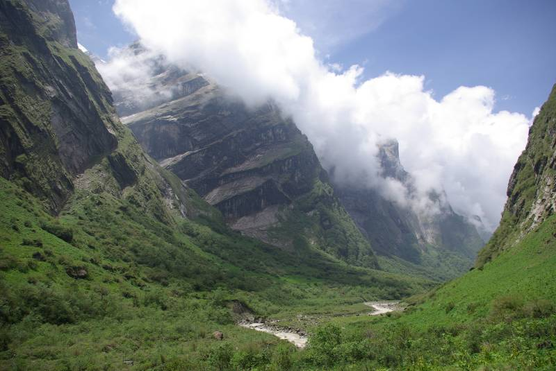 The Annapurna Sanctuary valley.