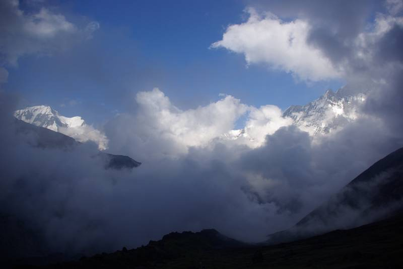 Cloudy evening view over the Annapurna range from basecamp.