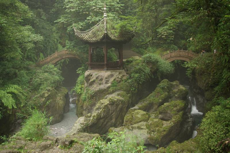 Qingyin Ge pavilion in the foothills of Mount Emei.