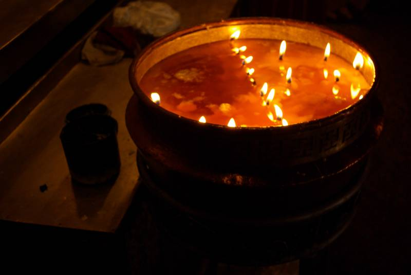 Monastery yak butter lamp.