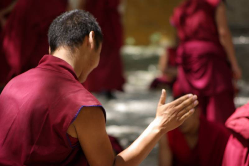 Monks debating in the Sera monastery.