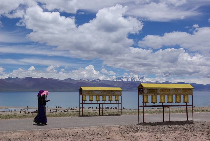 Prayer wheels by Namtso lake at 4700m.