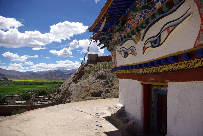 At the top of the Gyantse Kumbum.