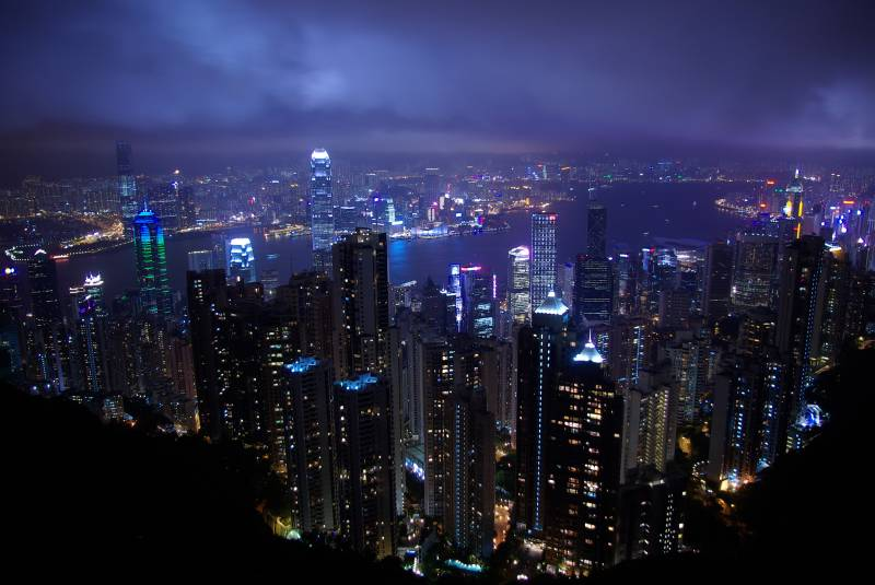 Night view over the Hong Kong cityscape from Victoria Peak.