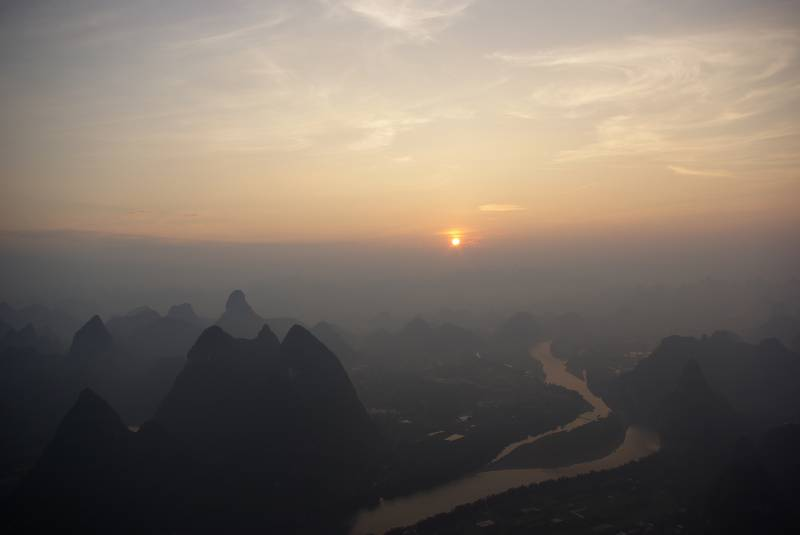 Sunrise view over the Yangshuo carst landscape.