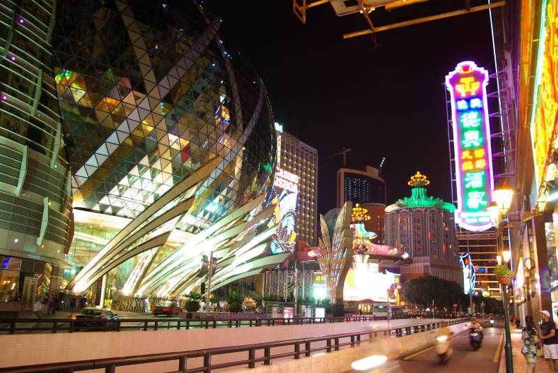 Macau casino quarter at night.