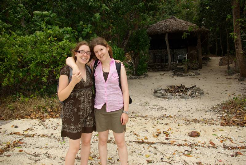 Edel and Teresa on the beach on Moso island.