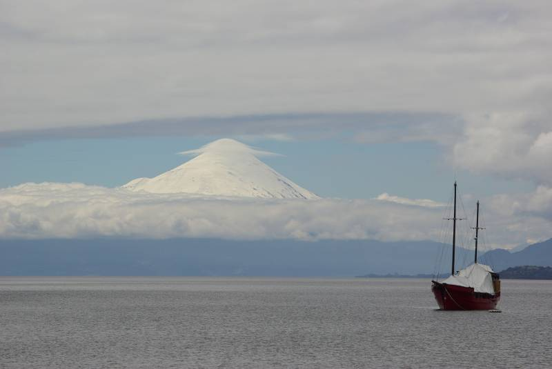 View towards Volcan Osorno from Puerto Varas.