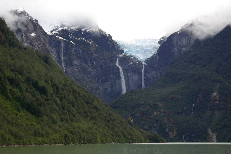 Waterfalls below the Ventisquero Colgante hanging glacier.