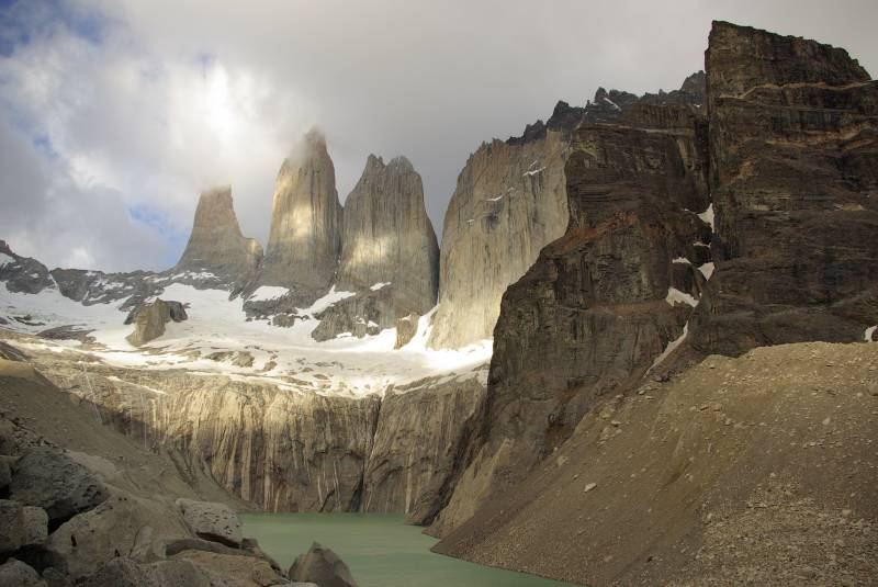 The Torres del Paine towers in the early morning.