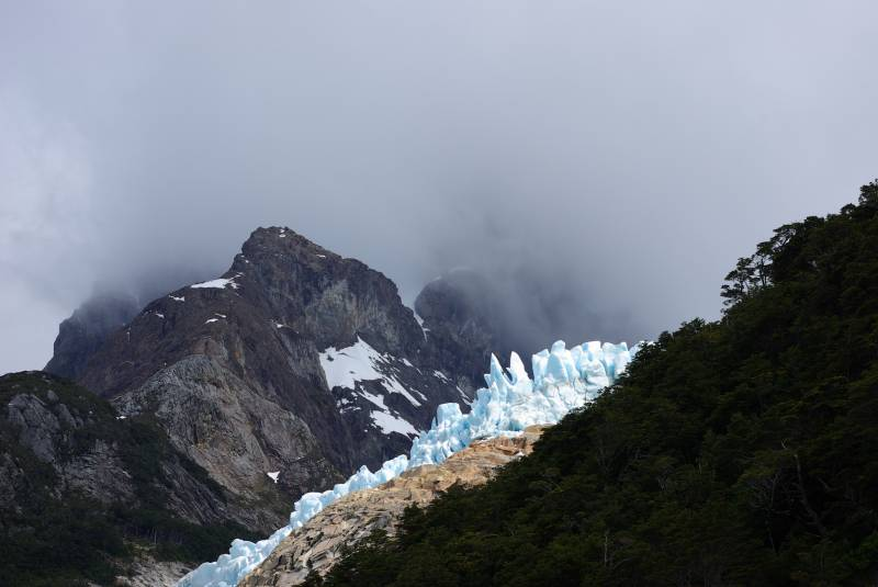 Blue ice of the Balmaceda glacier.