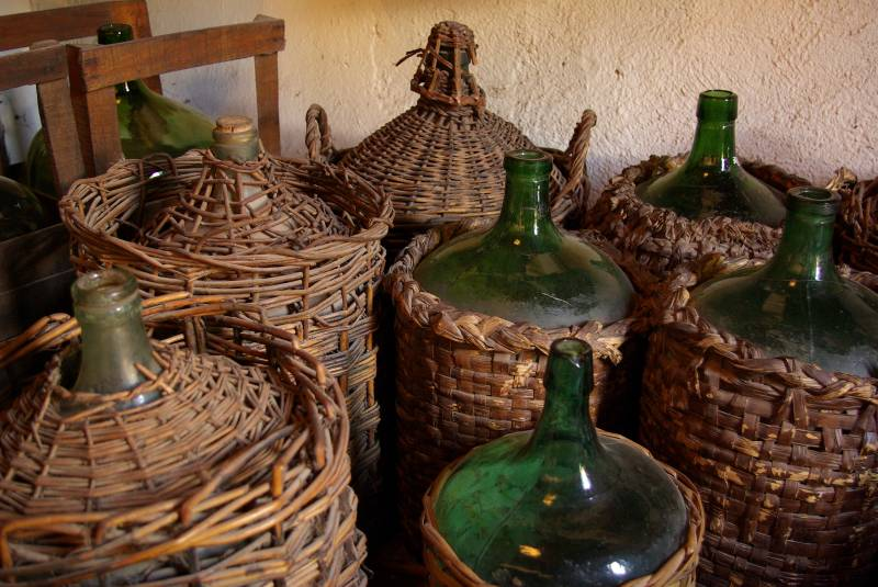 Bottles in a Maipu winery.