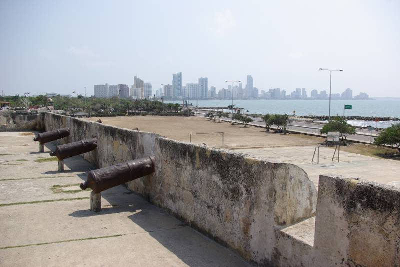 Cartagena cannons and city walls.