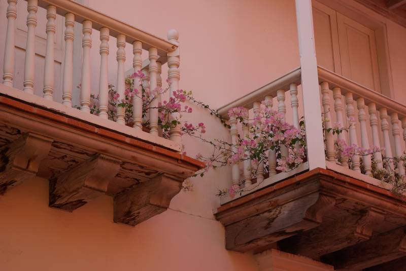 Balconies in Cartagena old town.