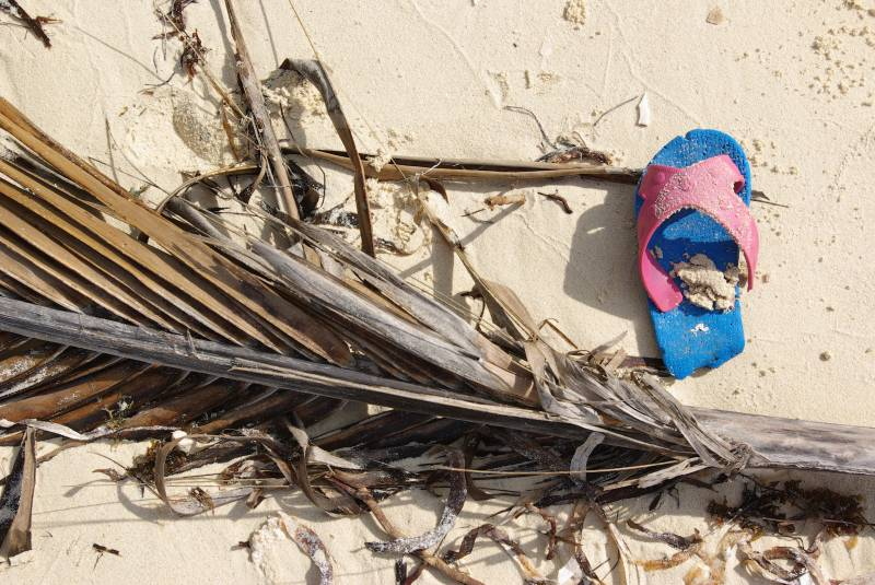One of a hundred sandals on the beach.
