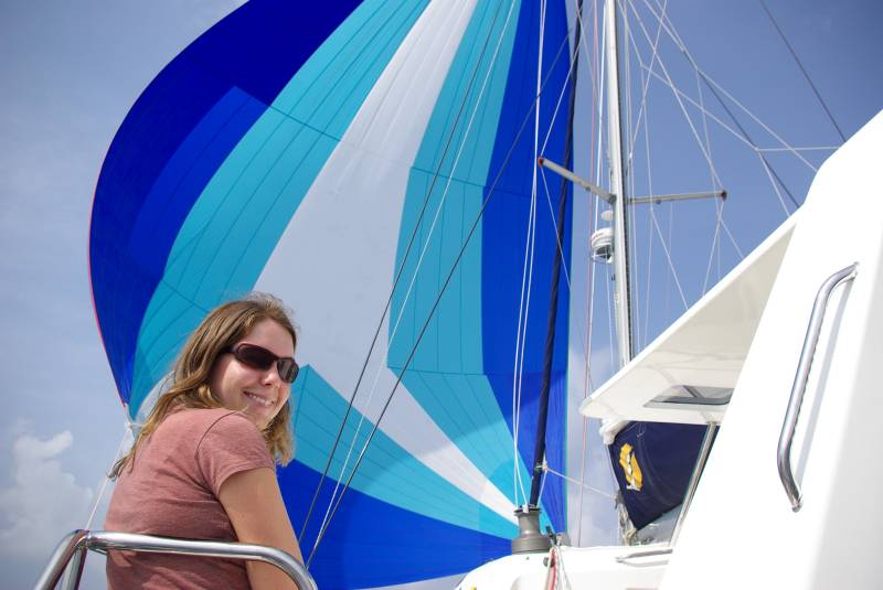 Flying the spinnaker.