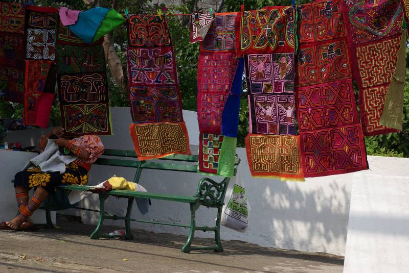 Kuna indian molas in Casco Viejo, Panama City.